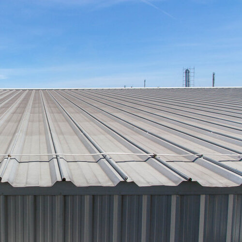 A building with metal roofing.